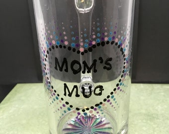 MOM MUG Hand Painted in Pink, Purple, and Aqua Glitter Paint Mothers Day Gift for Her Kitchen Decor Drinkware Barware Table Decor