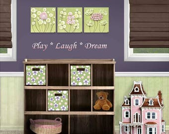 Girls Room Decor 3 Canvas Paintings with Sculpted Flowers in Green and Pink - 32x10