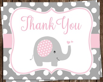 Elephant, Thank You Cards, Baby Shower, Sprinkle, Girls, Pink, Gray, Polka Dots, 20 Folding Notes, FREE Shipping, Little Peanut, HeartsPLKEP