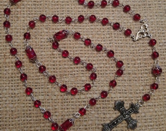 Red and Silver glass bead Rosary necklace
