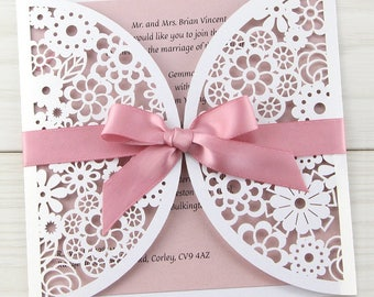 SAMPLE * Floral Laser Cut Wedding Invitation with Bow. Rose Pink Shown