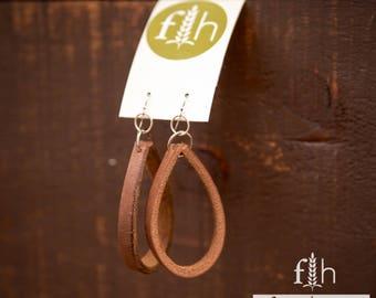 Leather Earrings, Earrings, Recycled Leather Earrings, Wirework, Recycled Earrings, Sterling and Leather Earrings