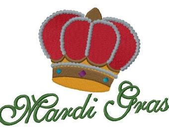 Mardi Gras Crown Embroidered on Hand Towel or Tea Towel