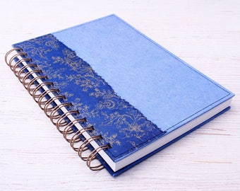 Blue Dot Grid Notebook / blue journal / dot grid journal / recycled notebook / eco friendly planner / bullet journal / dotted book