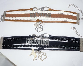 Greyhound Love Infinity Wrap Bracelet, Choose from 2 Colors