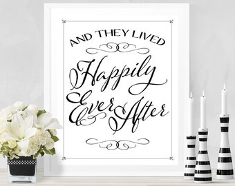 The Lived Happily Ever After Wedding Poster - INSTANT DOWNLOAD - Wedding Art, Reception Sign, Wedding Table Sign, Welcome Sign, Ceremony