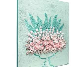 Textured Wall Art Canvas Floral Still Life - Pink and Teal Sculpted Rose Bouquet - Small 20x24