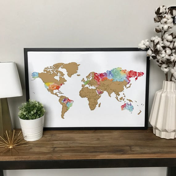 Watercolor scratch off world map travel map 20x30in watercolor scratch off world map travel map 20x30in watercolor art international map graduation gift gumiabroncs Image collections