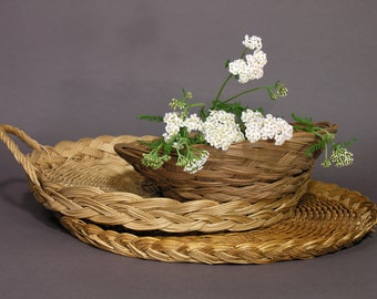 Wicker and Rattan Trays - French 1980 Serving Trays and Basket - Vintage Home Hipster Trend - Bohemian Table - Boho Wedding Decor