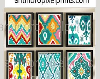 Colorful Ikat Prints, Set of (6) Wall Art Prints, Custom Colors Sizes Available, Custom Colors Available #199415874