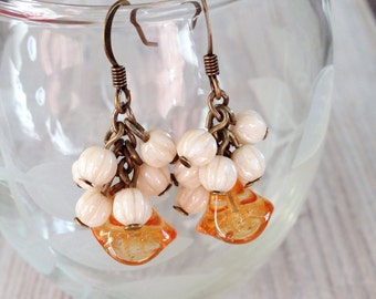 Eloise Earrings in Amber with Cream and Brass