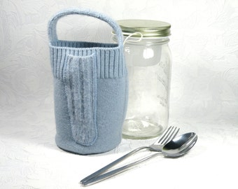 Glass lunch box - 32 oz - light blue