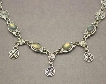 Labradorite Necklace, Gemstone Necklace, Silver Necklace, Boho Necklace, Boho Jewelry, Spiral, Spirals, Sterling Silver Necklace