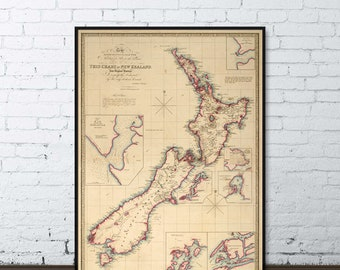 Old map of New Zealand - Large wall map of New Zealand, archival print