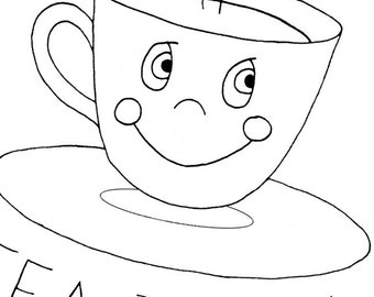Embroidery Pattern Tea Cup