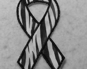Black and White Zebra (Ehlers Danlos Syndrome - eds) Awareness Ribbon - MADE to ORDER - Choose SIZE - Iron on Applique Patch 6577