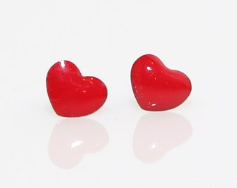 Tiny Red Heart Studs