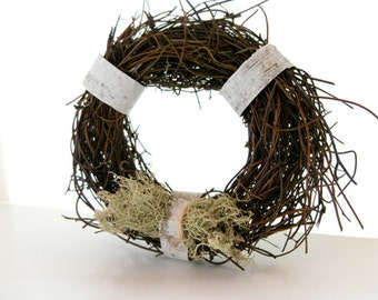 Miniature Rustic Wreath Ornament - Grapevine wreath 3 inch, birch bark, rustic wedding favor, rustic wedding decor, rustic Christmas wreath