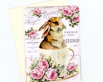 Rabbit Note Cards , Blank Flat Cards , Tea Cup Cards, Cottage Style Cards , Tea Time Cards, Bunny Cards , Shabby and Chic, Easter Note Cards