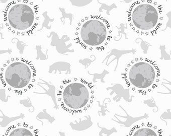 Welcome to the World from Lewis and Irene - Full or Half Yard Welcome to the World White and Gray - Animal Silhouettes