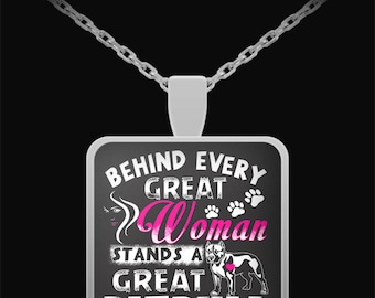 Pit bull gifts, Pitbull necklace, Behind Every Great Woman, Pit Bull Necklace, Pit Bull Jewelry, Pit bull Mom, Pit bull necklace, pitbull