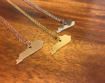Kentucky Necklace - Kentucky Pendant - Kentucky Charm - Kentucky Jewelry - Kentucky Outline - Kentucky