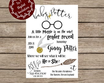 Digital Harry Potter Gender Reveal Invitation