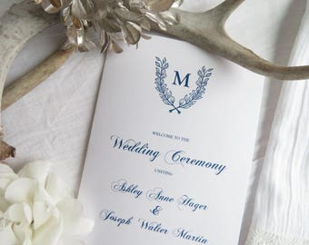 Folded Wedding Program Printable Template |  Instant Download PDF - Wedding Programs |  Folded Program  |  Navy Wedding Collection Style 12