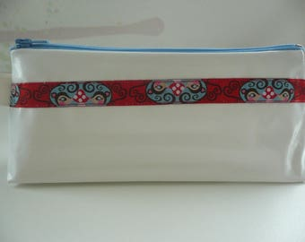 Kit in white oilcloth with pretty Ribbon # 2