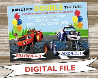 Dual Theme Blaze & Darrington Monster Machines Birthday Party Invitation [Cupcake toppers included!]--Personalized Digital File