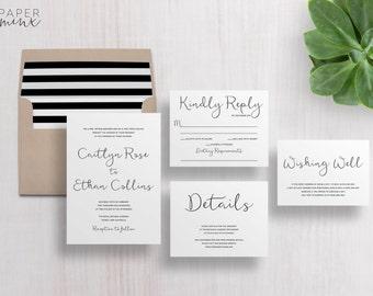 Wedding Invitation | Wedding Invitation Suite | Calligraphy Invitation | Black and White Invitation | Printed Wedding Suite | Caitlyn
