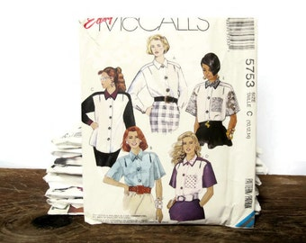 Vintage McCall's Sewing Pattern 5753 - Misses' Easy Blouse - Size 10, 12, 14 - 1992 - women's, tops, shirt, button down, casual, dressy