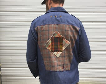 Men's patchwork button down denim shirt