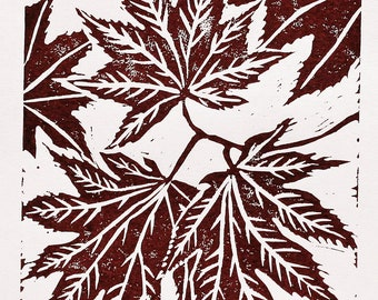 Maple leaf print 5x7  original linocut, russet botanical art, kitchen or nursery art, hand pulled relief print, autumn or fall nature decor