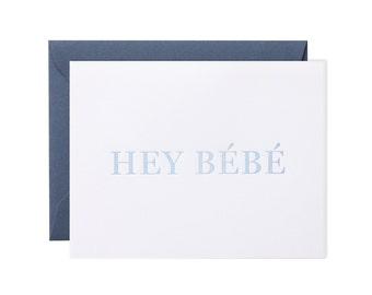 "Porcelain Blue ""Hey Bébé"" Greeting Card"