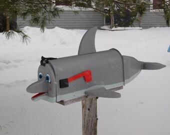 dolphin mailbox. fish mail box, water life mailbox,