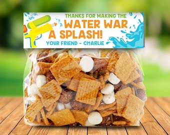 Water Gun Treat Bag Topper - Thank You Tags, Birthday Party Favors, Water Wars Party | DIY Editable Text Instant Download PDF Printable