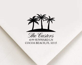 Palm Tree Return Address Stamp, Custom Stamp, Self Inking Stamp, Palm Address Stamp, Custom Address Stamp, Housewarming Gift, Realtor Gift