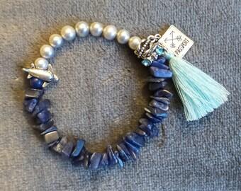 Light Gray Freshwater Pearls, Lapis Lazuli Chips, Tassel, & Travel Charms