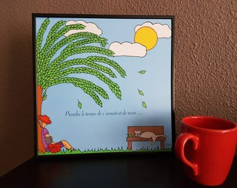"Poster illustration Poster ""well-being: under a tree"" time #prendre #chat #cat #douceur live #décoration wall #été #vacances"