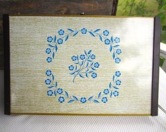 Vintage Hot Plate Warming Tray Cornflower Blue Pattern
