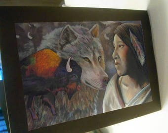 greeting card print of original art-  Indian Native buffalo wolf spirit animal native american