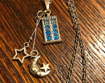 Doctor Who Jewelry TARDIS Necklace Moon and Stars