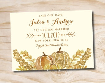 Watercolor Fall Glitter Pumpkin Leaves Fall Save the Date - Printable digital file, printed invitations, printed magnet