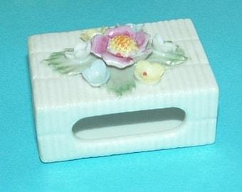 Porcelain Matchbox Holder with Raised Flowers