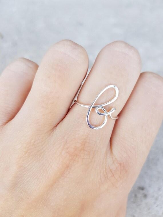 B erste Ring Silber Buchstabe B-Ring personalisierte Draht