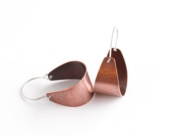 """Arc shaped copper earrings lightly patterned and oxidized, perfect for everyday wear and a splash of color - """"Small Copper Scoop Earrings"""""""