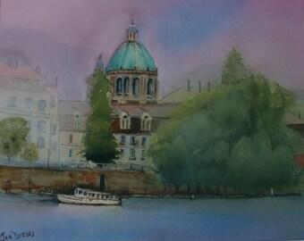 Prague Vista, giclee print of  an original watercolor painting.
