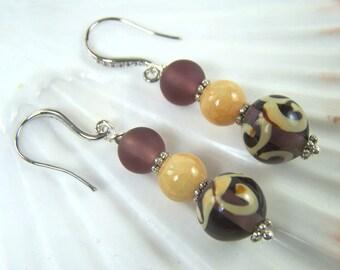 Aubergine Lampwork Earrings