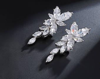 Cubic Zirconia Bridal Earrings, CZ Wedding Earrings, Bridal Drop Dangle Earrings, Bridal Earrings, Bridal Crystal Earrings
